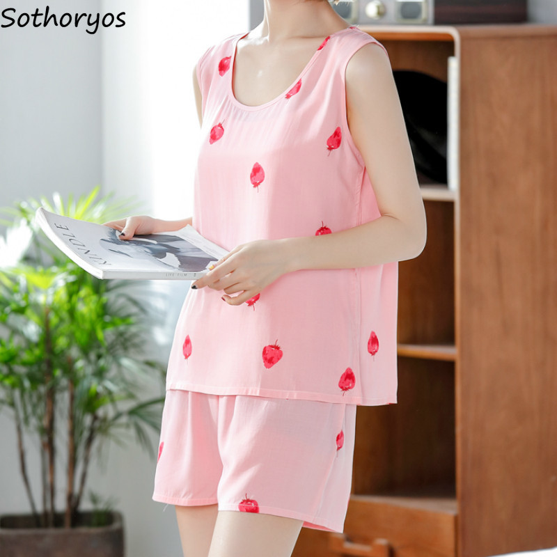 Pajama Sets Women Sleeveless Summer New Large Size Simple Korean Style Womens Clothing Loose Leisure Elegant High Quality Home