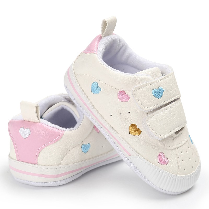2020 Kids PU Material Fashion Toddler Soft Bottom Shoes Star Pattern Baby Girl Cute Lace-up Sports Shoes 0-18M First Walker