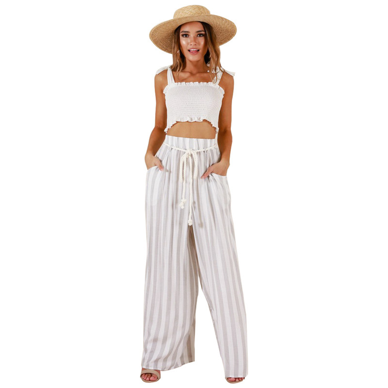 MUXU fashion womens two piece sets cropped set top and pants women suits white knitted 2018 outfits