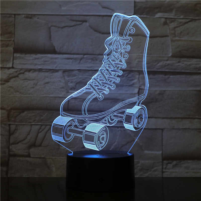 3D LED Lamp Sport Rolschaatsen Schoenen Multi color Gradient Nachtlampje USB Touch Kind Kids Tafel Lampara Baby Slapen gift