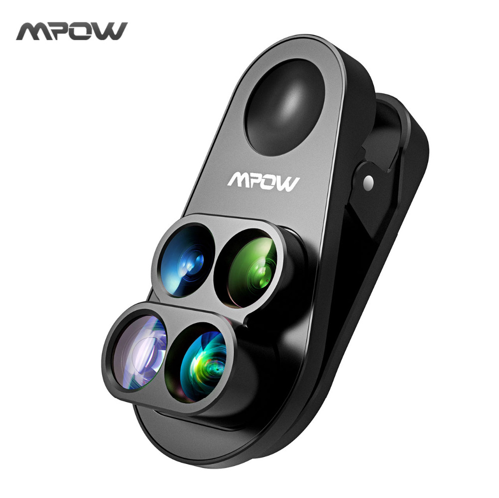 Mpow 4 in 1 Clip-on Camera Dual Lens Kit 0.65X Wide Angle Fish Eye 10X Macro Lens 1.5X Telephoto Lens For iPhone 8 7 6 6s /plus
