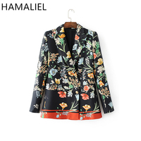 HAMALIEL 2017 Women Vintage Colored Floral Print Blazer Notched Collar Double Breasted Slim Mid Long Suit