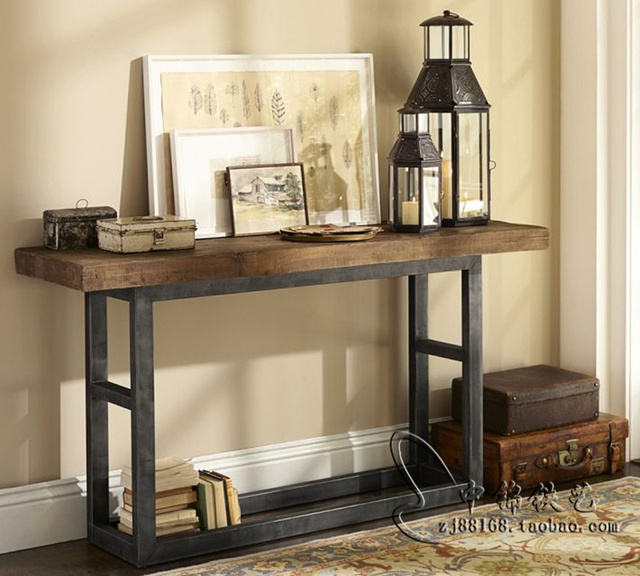 American Retro Wood Console Table Wrought Iron Entrance Hall Cabinet Dining Side TV