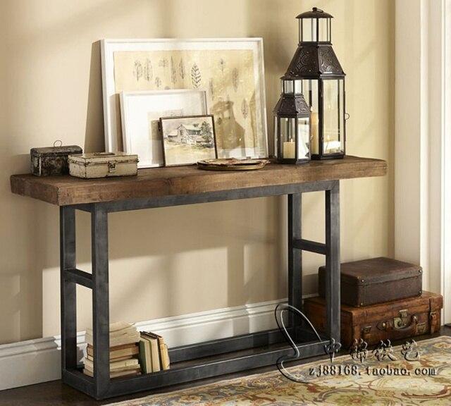 Retro americana consola de madera mesa, hierro forjado hall de ...
