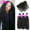 Water Wave With Frontal 3Bundles With Frontal Closure Brazilian Frontal With Bundles Curly Virgin Hair With Lace Frontal Closure