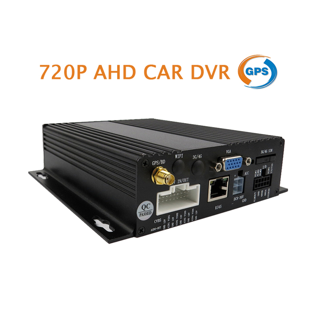 Free Shipping New 4CH HD 720P AHD Real-time Recording 128GB SD Car Mobile DVR GPS Track Video Recorder For Bus Taxi Truck Van
