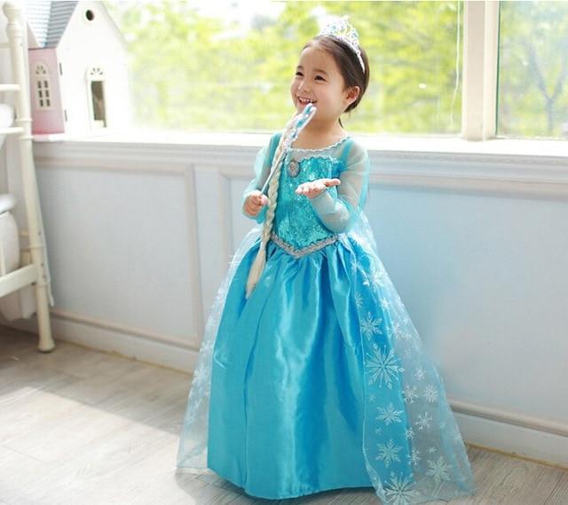Children Dress Girl Princess Dress Elsa Anna Dress Summer Long-Sleeve Diamond Dress Costume, Four Designs, Size 100-150, LC00