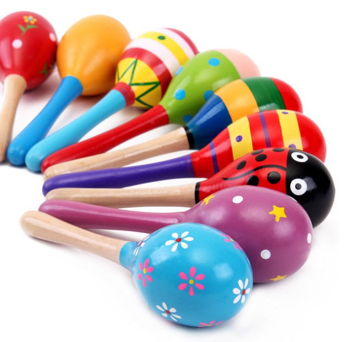 2018 new colorful wooden maracas baby child musical instrument