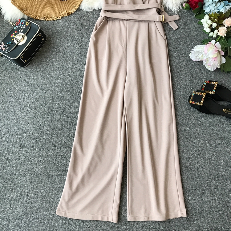 ALPHALMODA 2019 Spring Ladies Sleeveless Solid Jumpsuits V-neck High Waist Sashes Women Casual Wide Leg Rompers 29