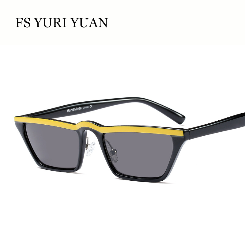 FS YURI YUAN Fashion Women Sunglasses Small Size Rectangle Frame Sun Glasses Cool Color Stripes Decoration Eyewear UV400 Selling