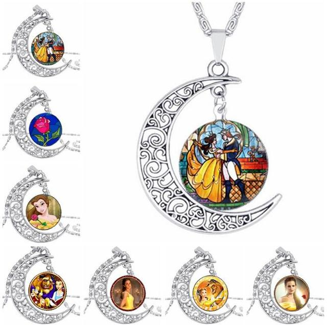 Wholesale glass picture pendant beauty and the beast necklace rose wholesale glass picture pendant beauty and the beast necklace rose glass pendant art pendant for moon mozeypictures Image collections