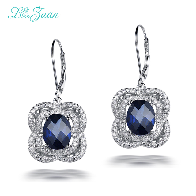 L&zuan Trendy Jewellery Drop Earrings For Women Sterling Silver 925 7.51ct Sapphire Luxury Earring Fine jewelry E0048-W02