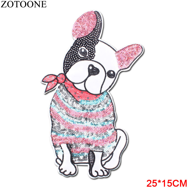 ZOTOONE Sequin Dogs Back Patch on Clothing Puppy Sewing on Patches for Clothes Applique Garment Large DIY Application for Jacket in Patches from Home Garden