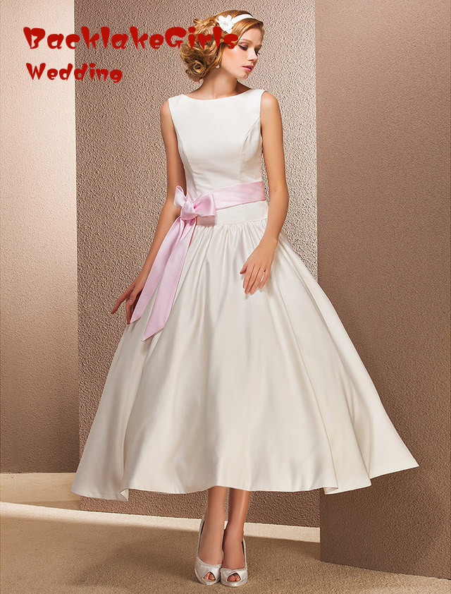 hot sale new sexy fashion tea length wedding dress 2016 whiteivory trouwjurk vestido de noiva with pink sashes cheep goods