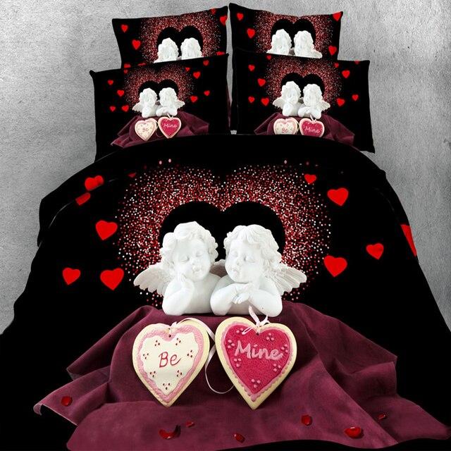 Biancheria Da Letto In 3d.Matrimonio Romantico Set Di Biancheria Da Letto 3d Angel Heart