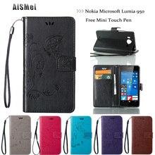 Aismei 5.2 «роскошные бабочка кожа для nokia microsoft lumia 950 n950 case бумажник стенд крышка коке funda для nokia 950 n950