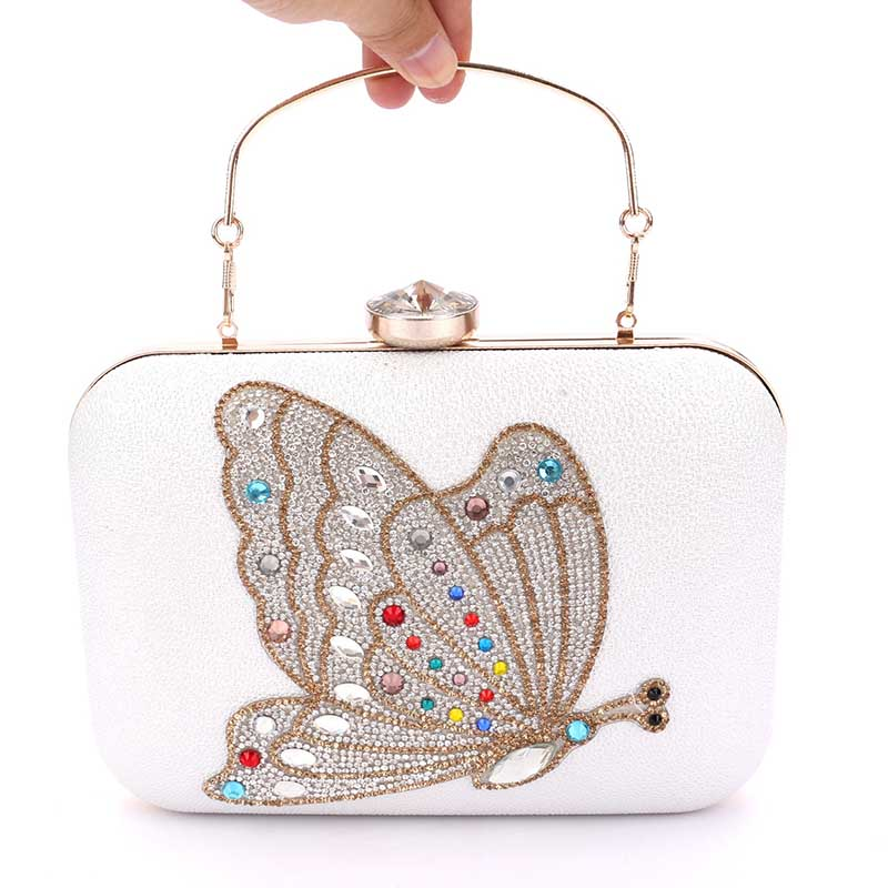 Brand Designer Butterfly Pattern White Pu Clutch Evening Bag Women Chain Mini Handbags Fashion Party Purse Clutches bolsas fashion box evening bag oil painting flower black lock clutch bag strap mini tote bag ladies purse trunk white women handbags