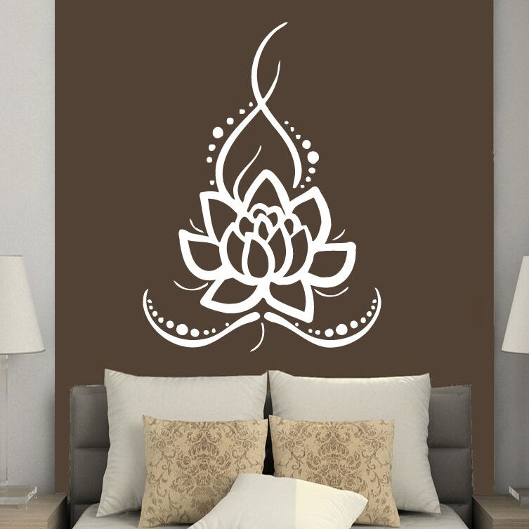 wall decals yoga ornament lotus flower wall sticker removable boho