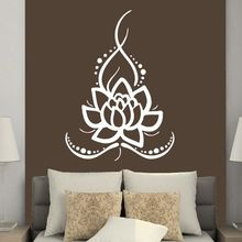 Wall Decals Yoga Ornament Lotus Flower Sticker Removable Boho Bohemian Decal Art Mural AY341