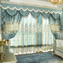 European luxury light blue embroidered Blackout Polyester Cotton curtains for Bedroom window Living Room drapes