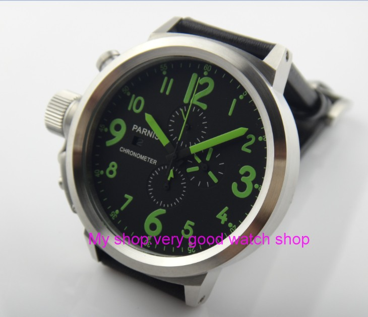 50mm PARNIS black dial Japanese quartz movement Chronograph multifunction men's watch Auto Date Quartz watches SY10 50mm parnis black dial japanese quartz movement chronograph multifunction men s watch auto date quartz watches pvd case sy14