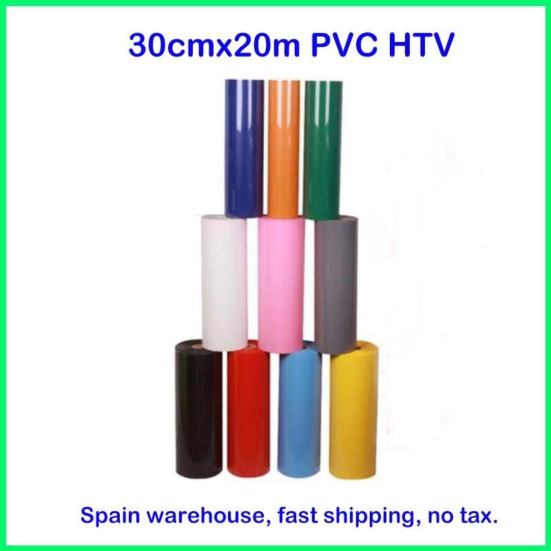 1 rouleau 30 cm x 20 m PVC transfert de chaleur vinyle T-shirt fer sur HTV Film impression découpe traceur chaleur presse (espagne warhouse, pas de taxe)
