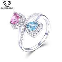 DOUBLE R Classic Created Blue Topaz And Created Pink Sapphire 925 Sterling Silver Brand Wedding