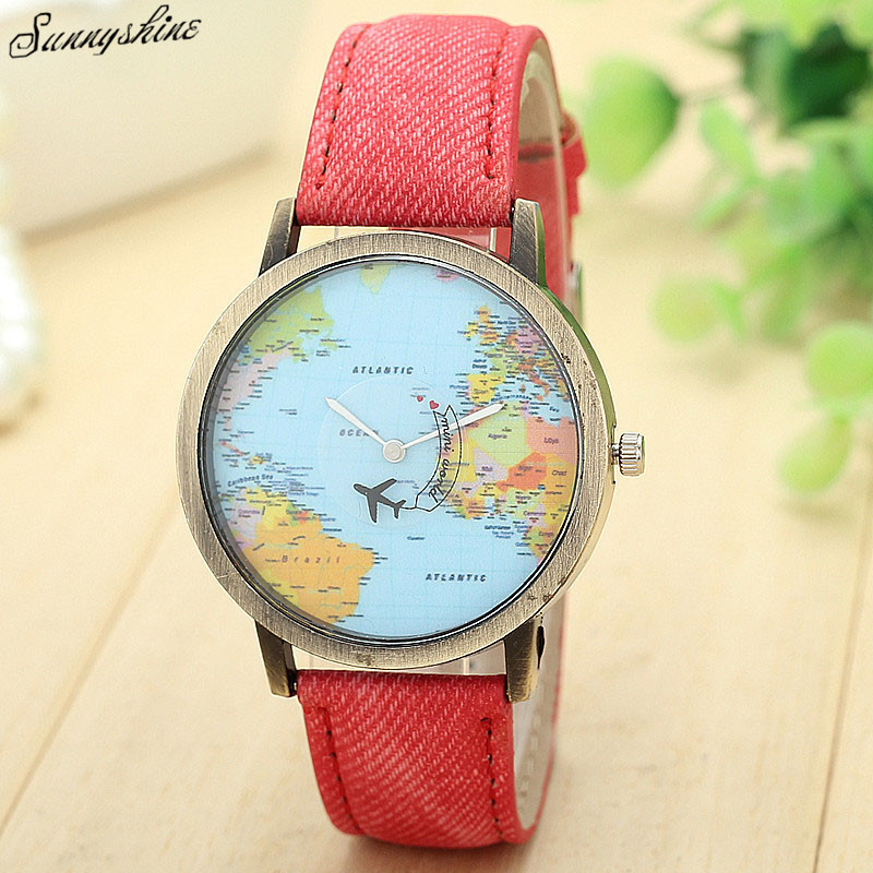 New Global Travel By Plane Map Waterproof Women Dress Watches Denim Fabric Band wristwatch wholesale