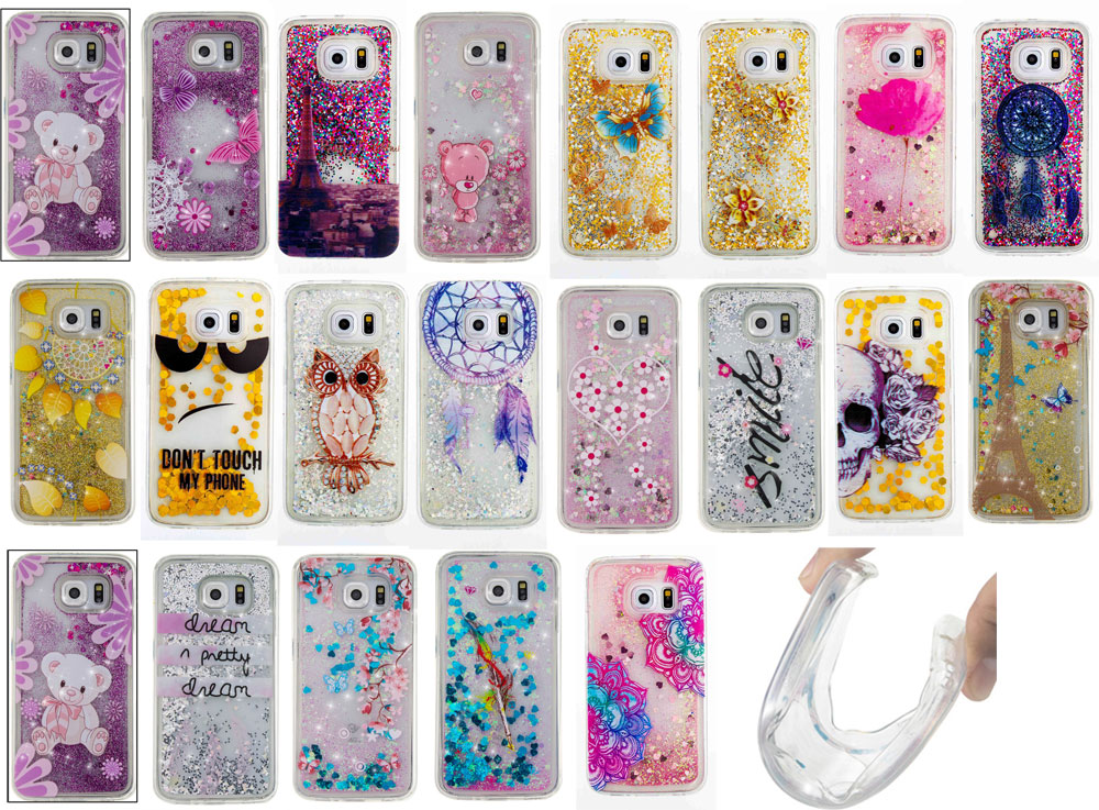 Luxury Sparkle Quicksand Glitter Stars Flowing Liquid Case For Samsung Galaxy S5 S6 S7 edge Soft Silicone TPU Cover Phone cases