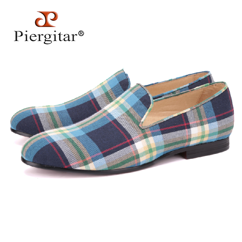 PIERGITAR arrival Blue and Green Plaid Men Canvas shoes British style male Casual Slip-on Loafers Handmade luxurious men's flats