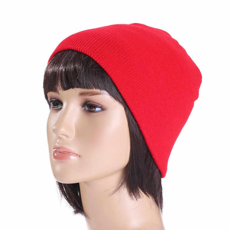 adbb3188e2e ... Winter Hat Unisex Cotton Blends Solid Warm Soft HIP HOP Knitted Hats  Men Winter Caps Women s
