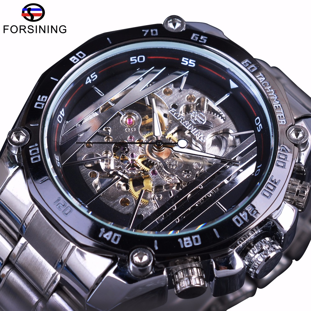 Forsining Military Sport Design Automatic Transparent Silver Stainless Steel Skelet Heren Mechanische Horloges Topmerk Luxe