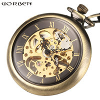 2017 New Arrival Mechanical Pocket Watch Antique Hand Wind Fob Watches Roman Number For Men Women