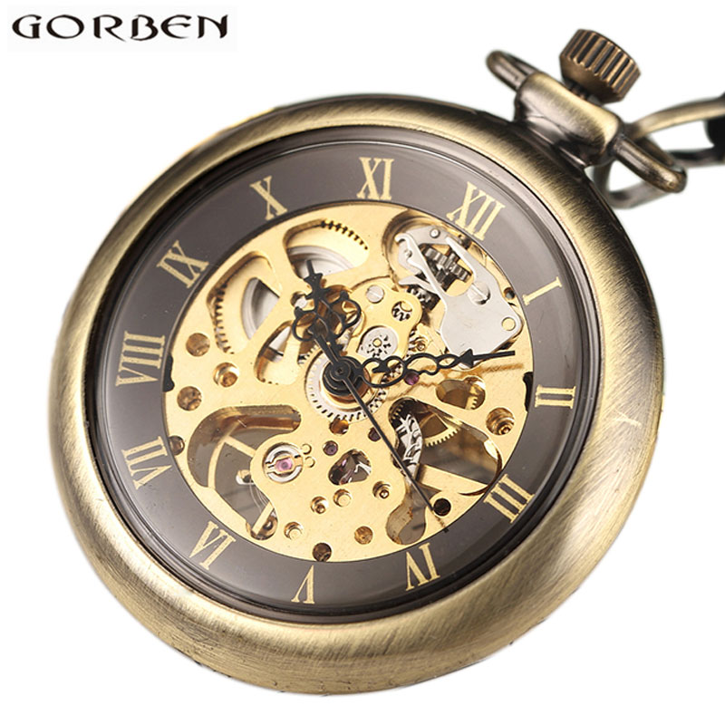 Vintage Skeleton Steampunk Mechanical Pocket Watch Necklace Hand Wind Silver Bronze Mechanism Retro Clock Chain Men Women Gift купить