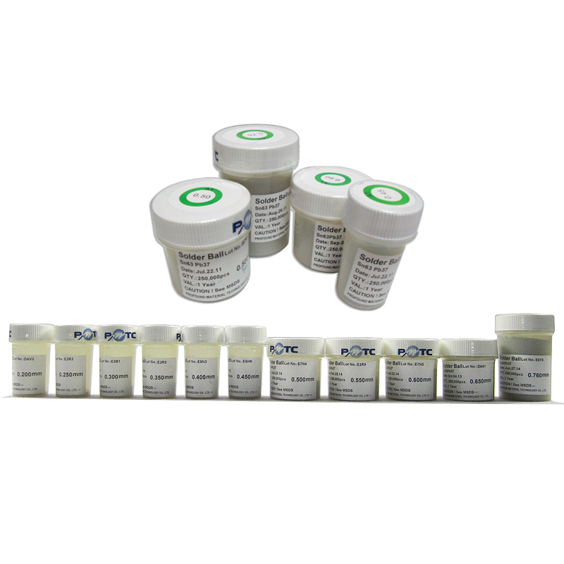 PMTC 250K Leaded BGA Solder Ball 0.2/ 0.25/ 0.3/ 0.35/ 0.4/ 0.45/ 0.5/ 0.55/ 0.6/ 0.65/ 0.76mm For BGA Rework Reballing Kit