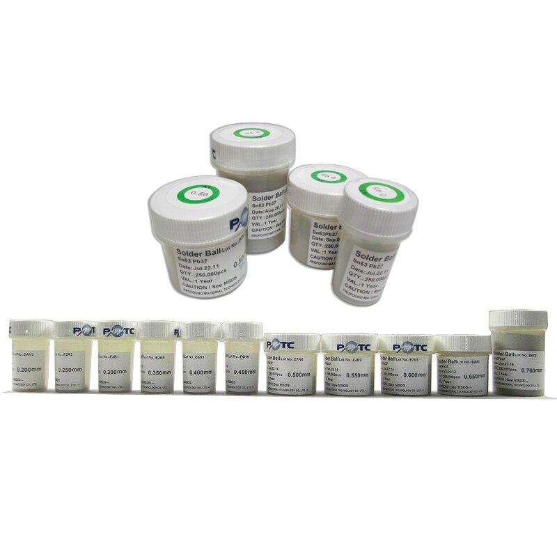 PMTC K 250 K plomo BGA Bola de soldadura 0,2/0,25/0,3/0,35/0,4/0,76/0,65/0,6 0,55 0,5mm 0,45 para BGA Reballing Kit