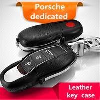 Car Auto Key Case Genuine Leather for Porsche Cayenne Cayman Macan Panamera With Genuine Top Layer Leather Holder Fashion Cow