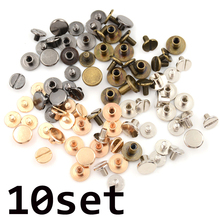 10set/Lot  DIY Solid Brass Button Screws Stud Screw Nail Screwback For Leather Rivet Belt Gold 5/6.5/8mm Optional