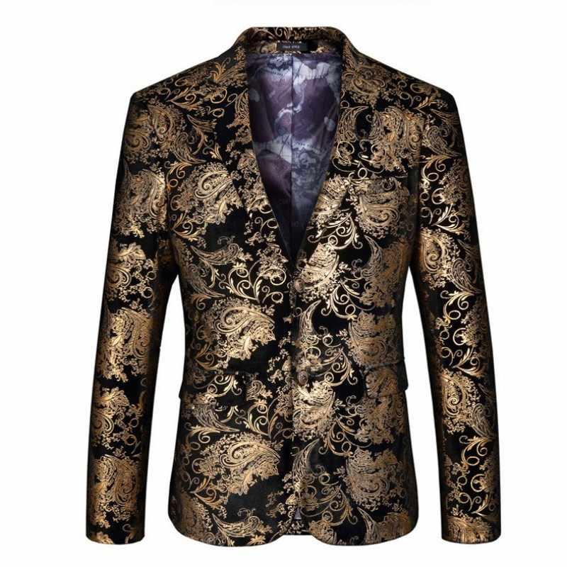 Lüks Altın Çiçek Baskılı Erkek Takım Elbise Kostüm Büyük Boy 5XL düğün elbisesi Terno Blazer Ceket + Pantolon Ofis Parti Smokin Takımları