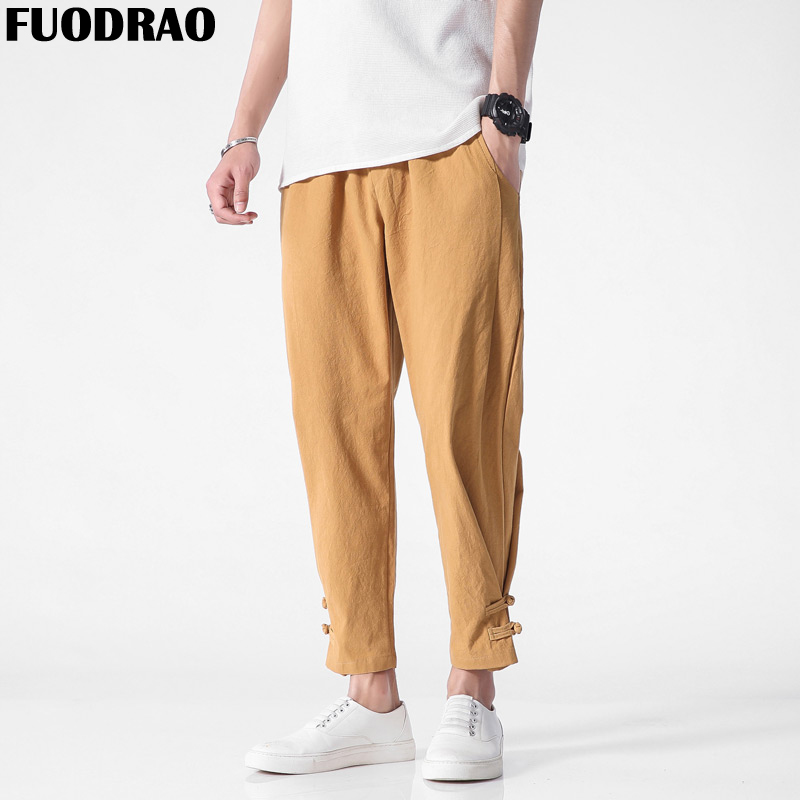 FUODRAO Men Pants Male Trousers Chinese-Style Cotton Casual F048 Solid-Colors