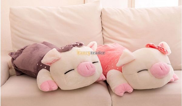 Fancytrader Hot Selling 35\'\' 90cm Super Lovely Soft Stuffed Giant  Lying Pig Toys ,3 Colors Available!Best Gift and Decoration for Kids, Free Shipping FT50069(5)