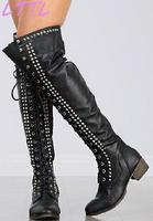 MIQUINHA Black Leather Women Point Toe Over The Knee Combat Boots Ladies Lace Up Studded Boots