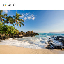 Laeacco Blue Sky Seaside Waves Beach Palm Tree Scenic Photography Backgrounds Customized Photographic Backdrops For Photo Studio