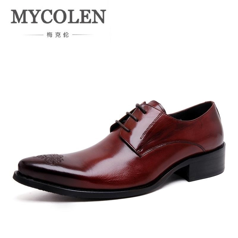 MYCOLEN Genuine Leather Handmade Formal Shoes Men Vintage Carved Lace Up Oxfords Top Quality Flat Shoes Erkek Klasik Ayakkabi good quality men genuine leather shoes lace up men s oxfords flats wedding black brown formal shoes