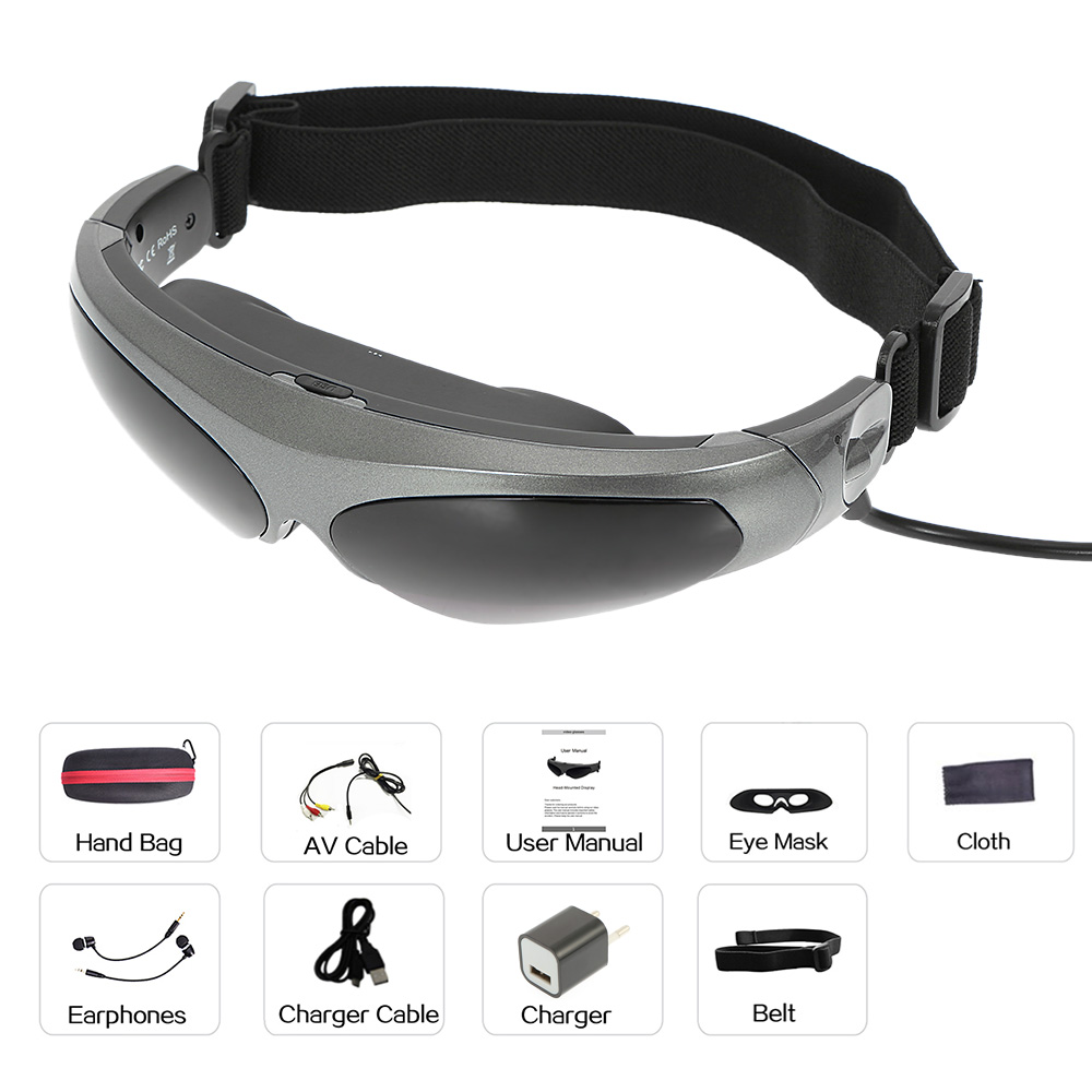 Head-Mounted Display FPV Glasses 80 Inches Virtual Wide Screen Smart Video Glasses AV Input for Blu-ray DVD Player For XBOX PS3 Сникеры