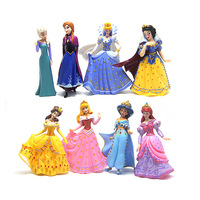 8 Pieces Kids my cute little Anna and Elsa Set figures Toy birthday Snow Sofia Princess party decoration gift doll Anime