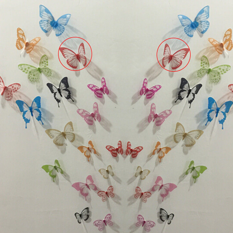 Crystal 18pcs 3d Butterflies Diy Home Decor Wall Stickers For Kids Room Christmas Party