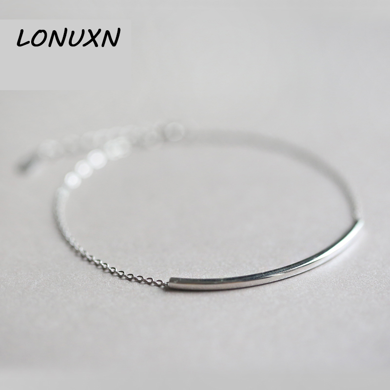 S925 silver jewelry Korea Art is fresh and delicate fine silver tube simple geometric all-match square female Anklet