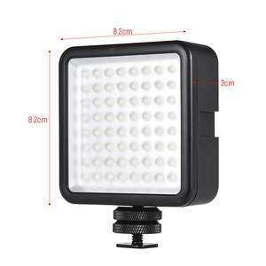 Image 2 - Светодиодная мини лампа Andoer для камеры, осветительная панель с регулируемой яркостью для видеокамер Canon, Nikon, Sony, Panasonic, Olympus, Godox, 64 светодиода