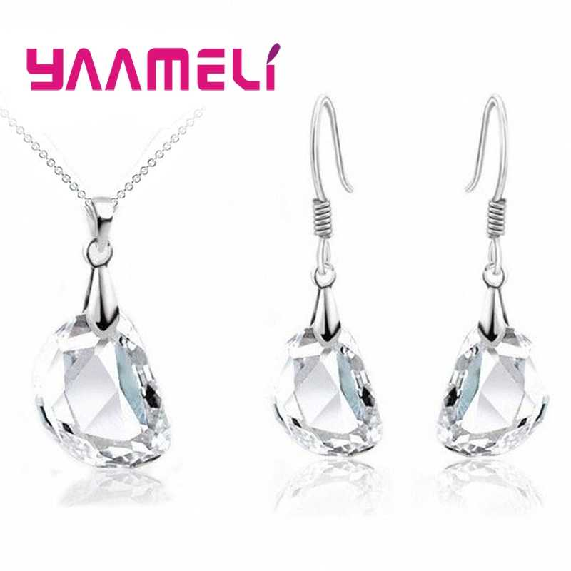 Hot Sale Bridal Jewely Sets 925 Sterling Silver Crystal Lover Bean Wedding Engagement Earrings Pendant Necklace Women